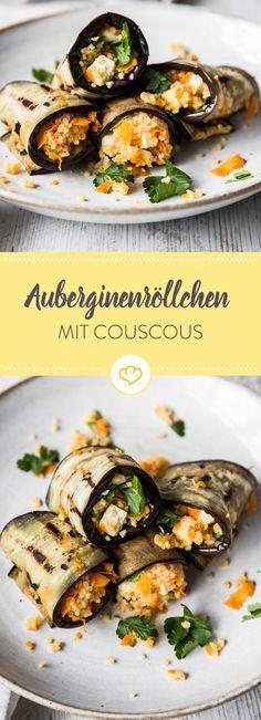 Aufgerollt und weggesnackt - mit locker-leichter Couscous-Füllung erleben Auberginenröllchen ein köstliches Revival auf deinem Vorspeisenteller.
