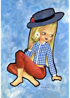 The girl with the Blue Hat Vintage postcard of by PrettyPostcards, $4.25