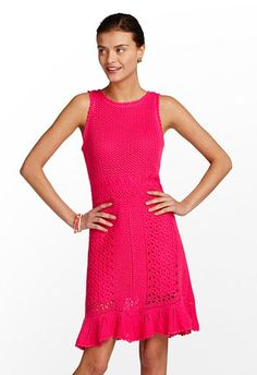 We love this bright pink knit dress.