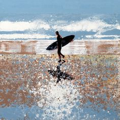"""Lone Surfer, North Cornwall Beach"" by Melanie McDonald (Undated) Kitesurfing, Cornwall Beaches, Surfer, Samurai Tattoo, Ocean Art, Landscape Paintings, Beach Paintings, Mermaid Paintings, Vampire Knight"
