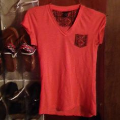 Cute T Shirt Coral shirt with design pocket. In very good condition Rue 21 Tops Tees - Short Sleeve