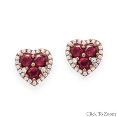 14 Karat Rose Gold Plated CZ Heart Earrings        Price: $48.95
