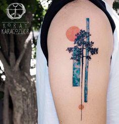 Tree Tattoo - InkStyleMag - Made by Koray Karagozler Tattoo Artists in Antalya, Turkey Region - Body Art Tattoos, New Tattoos, Sleeve Tattoos, Cool Tattoos, Tatoos, Latest Tattoos, Water Color Tattoos, Arm Tattoos Forearm, Mini Tattoos