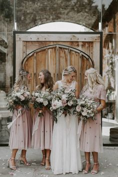 Shustoke Barn Wedding with Bride in Charlie Brear Carenne Dress with Corette Lace Overdress And Emmy London Belt by Grace & Mitch Photography Pink Wedding Colors, Simple Wedding Decorations, Pink Wedding Dresses, Pink Bridesmaid Dresses, Bridesmaids, Sunset Wedding, Amazing Weddings, Barn Wedding Venue, Bridal Outfits
