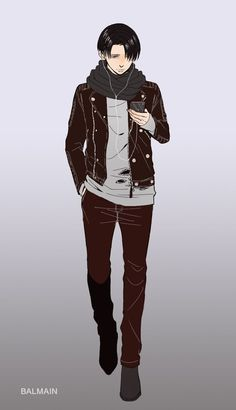 Rivaille (Levi).  I don't know why, but I like the AoT characters dressed in modern clothes.