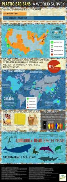 Read More About Plastic bag bans: Infographic shows how different regions stack up - Worldwide, we use more than 1 trillion plastic bags every year. Though many areas have worked to ban them, certain industries are a. Ocean Pollution, Plastic Pollution, Our Planet, Save The Planet, Planet Earth, Worlds Of Fun, Around The Worlds, Save Our Oceans, Revolution
