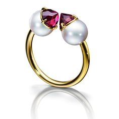 TASAKI refined rebellion signature garnet Ring RPI-4401-YGK18-g Yellow Gold / Akoya pearls 8mm / garnet (refined Liberation Rion cut) ¥ 237,600 (tax included)