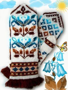 "Вязание.  Жаккард - ""Зимняя радуга"" Mittens Pattern, Knit Mittens, Knitted Gloves, Knitting Socks, Hand Knitting, Baby Emily, Fair Isle Knitting Patterns, Wrist Warmers, Knitting Accessories"