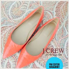 ✨PM EDITOR SHARE✨ J.CREW Viv Flats EUC Pretty patent leather persimmon color, J.CREW Viv Flats, Made in ITALY. Worn 2x, sadly too snug on me. It's a 9.5.  NEW heel taps installed for protection. NO SCRATCHES, 3rd pic modeled. ➡️Pls see last pic w/ minuscule pen dots on rt side inner part of shoe. It was there upon purchase, but unnoticeable when worn. EUC, no box. ✨HOST PICK✨ 6/6 ✨PM EDITOR SHARE✨ 7/1  ✅Offers via OFFER BUTTON only ⬅️ ✅Pls be mindful of Poshmark 20% fee ✅Same day shipping or…