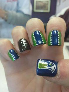 My Seahawks nails from unique nails Tacoma WA