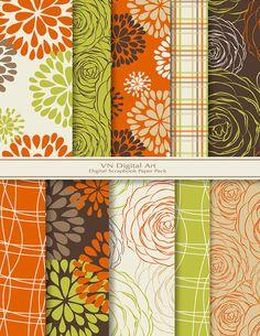 "Blooming Digital Scrapbook Paper Pack (8.5x11""-300 dpi) -- Instant Download -- 10 Digital papers -- 279"