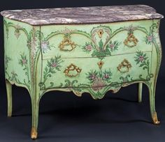 century Neapolitan painted bombe commode decorated with scrolls and swags in tones of green and violet. (via Mallett Antiques) *Rococo Revisited Floral Furniture, Hand Painted Furniture, Paint Furniture, Furniture Storage, Italian Furniture, French Furniture, Antique Furniture, Console Table, Shabby Vintage