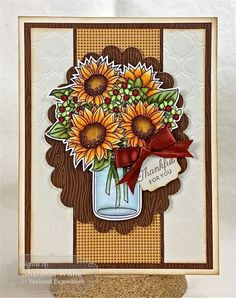Taylored Expressions October Sneak Peeks – Sunflower Bouquet by SLWhite – Cards and Paper Crafts at Splitcoaststampers – bouquetofsunflowers Sunflower Cards, Sunflower Bouquets, Sunflower Gifts, Fall Cards, Holiday Cards, Mason Jar Cards, Thanksgiving Cards, Copics, Halloween Cards