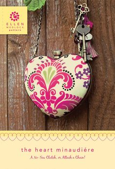 Heart Minaudiere DIY clutch purse by ellen medlock studio Diy Clutch, Clutch Purse, Mary Frances Purses, Purse Patterns, Quilt Kits, Diy Kits, Beaded Embroidery, Projects To Try, Sewing Projects