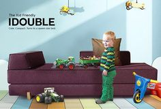The kid friendly Idouble daybed turns into Queen size. It's also double bed that can be separated into two mattresses. Daybed, Sofa Bed, Innovation Living, Boys Room Decor, Queen Size Bedding, Mattresses, Double Beds, Danish Design, Children