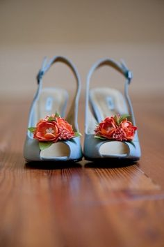 ☏Pret a Porter❃ - light blue shoes with red flowers