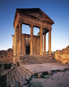 near ancient Carthage, Corinthian order Roman temple at Sbeitla - Tunisia, North Africa