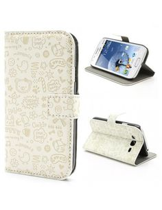 Δερμάτινη Θήκη Πορτοφόλι με Βάση Στήριξης για Samsung Galaxy Grand I9080 I9082 / Neo i9060 i9062 - Λευκό με γκράφιτι
