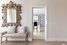 Cosy entrance hall with big stylish mirror and view of the open plan kitchen. Open Plan Kitchen, Entrance Hall, Cosy, How To Plan, Mirror, Stylish, Big, Furniture, Home Decor