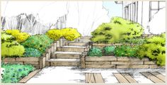 Les pentes de mon jardin   botanic.com Permaculture Design, Tips & Tricks, 3d Drawings, Backyard, Patio, Plantation, Small Gardens, Photomontage, Garden Planning