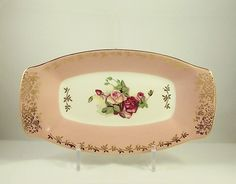 Vintage Figgjo Flint Norway Sandwich or Cake Platter 1950's Pink (2 of 2)