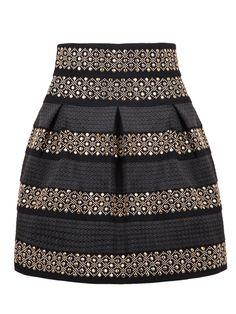 Black High Waist Rivet Striped Skirt
