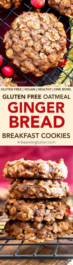 Gluten Free Gingerbread Oatmeal Breakfast Cookies (V, GF): an easy recipe for lightly sweet, soft and chewy ginger oatmeal cookies bursting with your favorite warm holiday spices!
