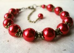 Red Pearl Bracelet Ruby Red Bracelet with Anique by PiggleAndPop, $22.00