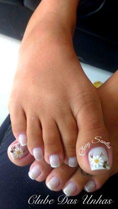French Pedicure Designs Flower Tips 63 Ideas Pretty Toe Nails, Cute Toe Nails, Toe Nail Art, Acrylic Nails, Toenail Art Designs, French Nail Designs, Flower Pedicure Designs, Summer Toe Nails, Spring Nails