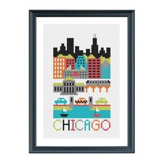 Make a cross stitch version of Chicago, Illinois, with Wrigley Field, Museum of Science and Industry, Loop bridges, Willis Tower, CNA Center, and