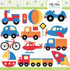 Transportation Red and Blue  Clip Art Set by Kellymedinastudios, $5.00