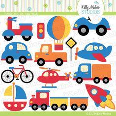 Transportation Red and Blue Clip Art Set by Kellymedinastudios, $5.00