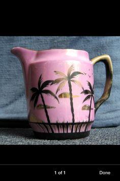 50s bright pink kitsch palm tree jug
