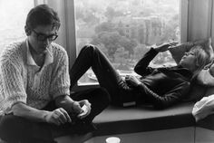 Alain Delon rocking a crocheted sweater, lighting a cigarette, looking adorable in those glasses and ignoring Marianne Faithfull.