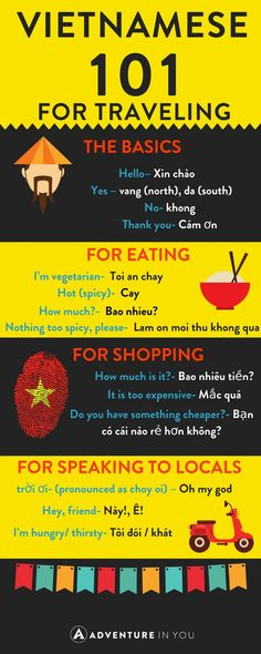 Vietnam Travel Heading to Vietnam? Check out our guide on basic Vietnamese words to help you travel Vietnam. Vietnamese Phrases, Learn Vietnamese, Vietnamese Language, Vietnamese Writing, Vietnamese Alphabet, Vietnam Travel Guide, Asia Travel, Travel Tips, Travel Destinations