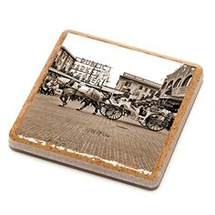 Pike Place Market Horse and Buggy Stone Drink Coaster