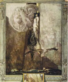 "Franz von Bayros (28 May 28 1866 – 3 April 3 1924)   Illustration from Dante's 'Divine Comedy', ""Inferno"", Canto Ix. 28, 1921 (Watercolour on paper)"