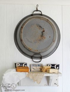 Knick of Time: Farmhouse Laundry Room. Lots of fun ideas: repurposed blouse-turned-laundry pin bag, plumbing pipes as hanger rod, old door-turned-shelf. Farmhouse Laundry Room, Laundry In Bathroom, Farmhouse Decor, Vintage Farmhouse, Primitive Laundry Rooms, Farmhouse Bathrooms, Laundry Area, Laundry Tips, Primitive Decor