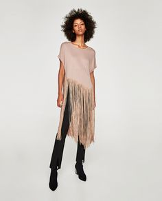 Image 1 of T-SHIRT WITH LONG FRINGE from Zara