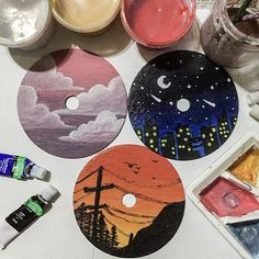 Simple Canvas Paintings, Small Canvas Art, Mini Canvas Art, Cute Paintings, Cd Wall Art, Record Wall Art, Cd Art, Aesthetic Painting, Aesthetic Art