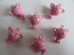 Pig Bells Set of 6 with Loop Pink Piggie Jingles When You Shake Him on Etsy, $7.00