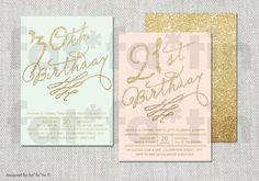 Adult Milestone Birthday Party Invitation 21st 30th 40th 50th 60th 70th 80th 90th Gold Glitter Script Custom Modern Classy Party Invite PDF by fatfatin
