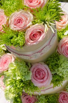 Stunning Pink and Green Country Wedding Cake from Granny Mouse