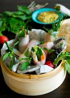 Färska veganska vårrullar med cashewdipp