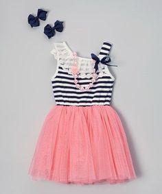 Coral Stripe Tutu Dress Set - Infant, Toddler & Girls #zulily #zulilyfinds