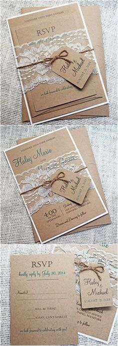 Eco Kraft and Rustic Lace Wedding Invitation / http://www.deerpearlflowers.com/rustic-wedding-invitations-from-etsy/