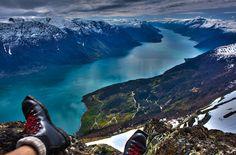 View from Mount Oksen, Hardangerfjord, Norway. Photo by Jo Bjørnar Hausnes via Flickr