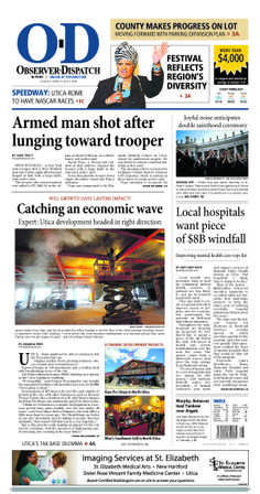 The front page for Sunday, April 27, 2014: Armed man shot after lunging toward trooper