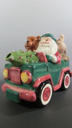 Vintage 1993 #Omnibus #Christmas #Santa In A Car #Teapot Raccoon Bear Moose