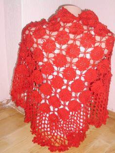 Red color shawl/Crochet red shawl/Beach wrap by redrosewholesaler, $40.00
